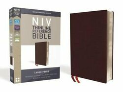 Niv, Thinline Reference Bible, Large Print, Bonded Leather, Burgundy, Red Letter