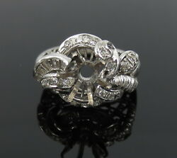 Vintage Ctf Diamond And 18k White Gold Hand Made Fancy Semi Mount Ring