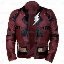 Justice League Ezra Miller The Flash Motorcycle Burgundy Cowhide Leather Jacket