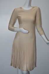 3100 New With Tag Knit Stretch Dress Beige Pleated Long Sleeve Fitted 38