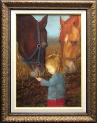 James Thorpe Untitled Landscapes Horses Hand Signed Oil On Canvas Hand Signed