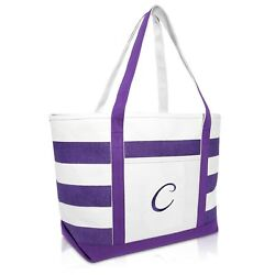 DALIX Monogrammed Beach Bag and Totes for Women Personalized Gifts Purple A Z $19.99