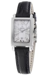 Gevril Womenand039s 8040n Super Mini Wristwatch Black Leather White Dial Rectangle
