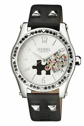 Rebel Women's Gravesend Watch Rb111-4021 White Puzzle Piece Dial Black Leather