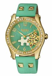 Rebel Women's Gravesend Watch Rb111-9121 Teal Puzzle Piece Dial Teal Leather