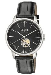 Gevril Men's Mulberry Watch 9600 Automatic Black Leather Open Case Back Window