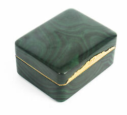 Antique Solid Malachite And Gold Lidded Box Casket 19th Century
