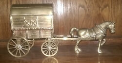 Vintage Bronze Amish Horse And Wagon Bread Cart