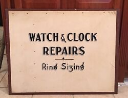 1940-50and039s Watch Repairs Ring Sizing Advertising Sign 36 X 29 Advertising Sign