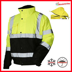 Hi Vis Insulated Safety Bomber Reflective Winter Jacket Warm Lined Road Work Jo