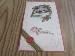 Antique - Merry Christmas - Horse Shoe - Used Postcard Excellent