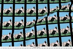 Flock Sheep Border Collie Herding Fabric Printed by Spoonflower BTY