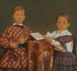 Children W Book. Hand Colored Ivorytype. Exquisite Tinting Rare 6x5 1880and039s