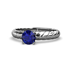 Blue Sapphire Womens Solitaire Engagement Ring 0.95 Ctw 14k White Gold Jp118934