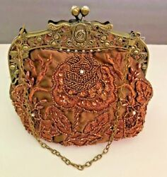 Evening bag beaded crystals bronze clutch vintage look elegant  w chain strap