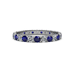 Sapphire And Diamond Womens Eternity Ring Stackable 2.26 Ctw 14k Gold Jp12518