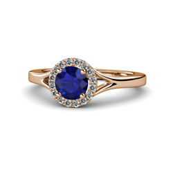Sapphire And Diamond Womens Halo Engagement Ring 1.11ctw 14k Rose Gold Jp111944
