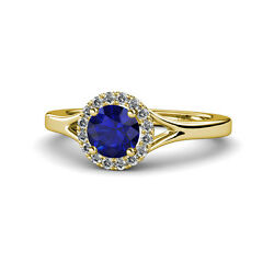 Sapphire And Diamond Womens Halo Engagement Ring 1.11ctw 14k Yellow Gold Jp111943