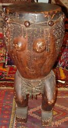 Cameroon Storyteller Drum Authentic Handmade Approx. 40 Tall