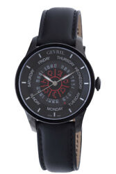 Gevril Men 2001 Columbus Circle Automatic Black Pvd Steel Leather Day Date Watch
