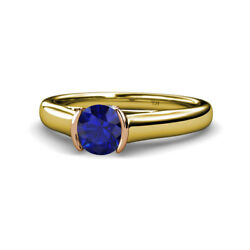 Blue Sapphire And Diamond Womens Solitaire Ring 0.98 Ctw 14k Yellow Gold Jp111641