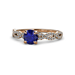 Blue Sapphire And Diamond Womens Engagement Ring 1.58 Ctw 14k Rose Gold Jp111194