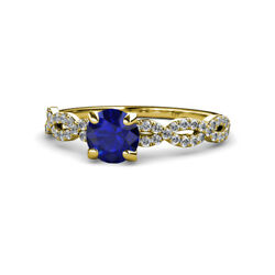Blue Sapphire And Diamond Womens Engagement Ring 1.58ctw 14k Yellow Gold Jp111193