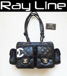100% authentic  [CHANEL] Cambon Shoulder Bag  Multi Pockets  Black (Used)
