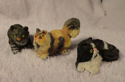 CAT FIGURINES Grey Tabby Black and White and Calico 1 12