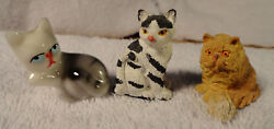 CAT FIGURINES Yellow Tabby Black and White and Siamese 1 12