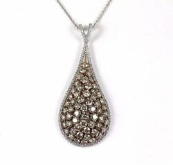 Fancy Color Round Diamond Pear Cluster Pendant 14K Rose Gold 8.32Ct