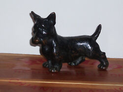 Vintage Bronze Sculpture Scottie Scottish Terrier Dog Statue with Black Patina