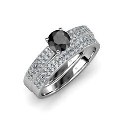 Black And White Diamond Engagement Ring And Matching Band 1.80 Ctw 14k Gold Jp69346