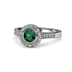 Emerald And Diamond Womens Halo Engagement Ring 1.08 Ctw 14k Gold Jp54037