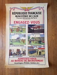 Very Rare Original 1931 French Military Air Force Recruiting Poster