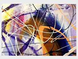 Original Acrylic Abstract Painting On Paper Modern Art Signed For Home Decor