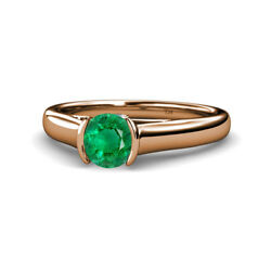 Emerald And Diamond Solitaire Plus Engagement Ring 0.75ctw 14k Rose Gold Jp111678