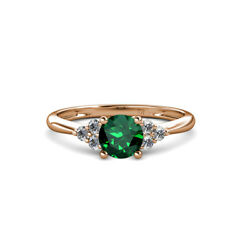 Emerald Solitaire With Diamond Engagement Ring 0.99 Ctw 14k Rose Gold Jp113712