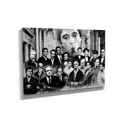 Gangsters Scarface Canvas Print Home Decor Wall Art Five Piece Black And White
