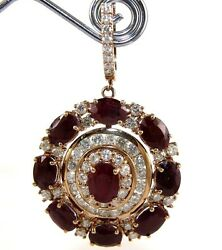 Oval Ruby & Diamond Round Drop Cluster Cocktail 14K Yellow Gold 24.05Ct