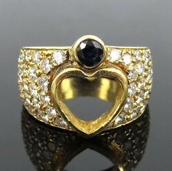 Vintage 3.50ct Diamond And 0.25ct Sapphire 18k Yellow Gold Heart Ring