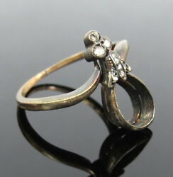 Antique 1800's French 0.10ct Rose Cut Diamond Silver And Gold Semi Mount Ring