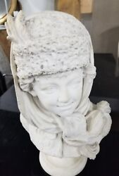 Signed Antique Marble Russian Sculpture Of Boy