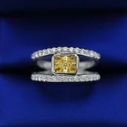 14k White Gold Fashion Ring With Center 2.00ct Yellow Sapphire And Side Diamonds