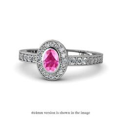Oval Cut Pink Sapphire And Diamond Engagement Ring 1.41 Ctw 14k Gold Jp145785