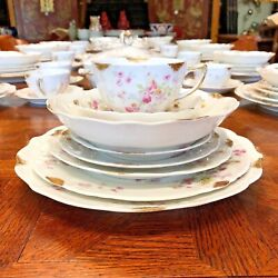 C Ahrenfeldt Limoges China 9pc Service For 12 +serving Pieces Pink And Yellow Rose