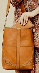 $498 New Frye Illana Western Studded Tan Brown Leather Bucket Tote Bag