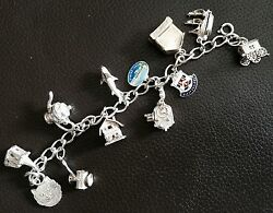 Rare Antique 6.5/16cm Silver Charm Bracelet With Opening Charm Lockets 52g