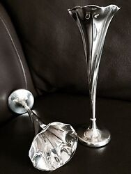 Pair Of Rare Antique 1903 Hallmarked Walker And Hall Sterling Silver Bud Vases