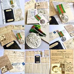 Ww2 Usa Army Service Forces Uk Medal, Id, Passport, Telegrams And Love Letter